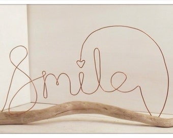 Wire word art. Smile, driftwood and wire word art. Inspirational quote. Wire sculpture. Driftwood art. Heart sculpture.