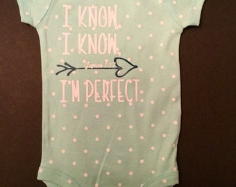 "The ""Perfect"" baby onesie. Comes in yellow or pink polka dots. Can be personlized forbab additonal 3.00"