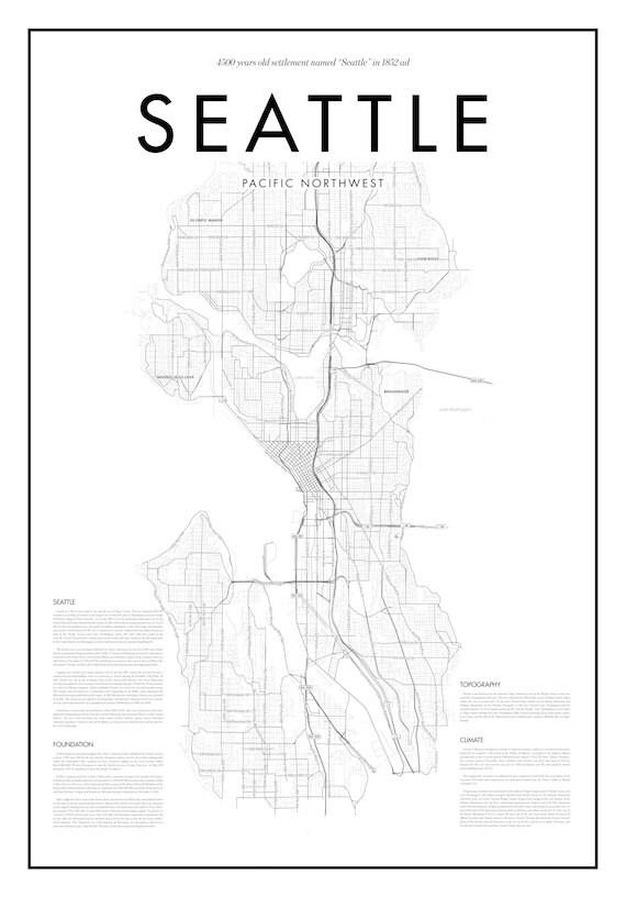Minimal Seattle Map Poster Black White Minimal Print