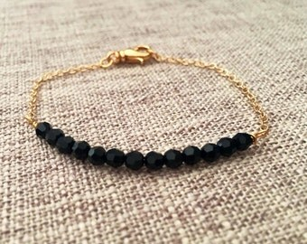 SOLD OUT!!Dainty Jet Black Faceted Swarovski Crystal Bar Bracelet with 14K Gold Filled Chain, Chain Bracelets, Delicate Jewelry, Minimalist
