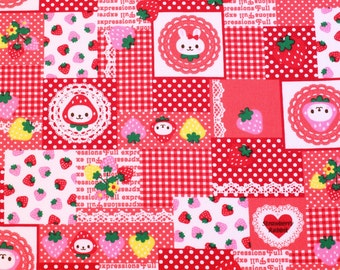 fat quarter, 1/2 meter / Japanese fabric / kawaii fabric / bunny fabric / strawberry fabric / animal fabric / red fabric /