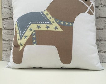 Grey and Taupe Scandi Dala Horse Large Bedroom Cushion