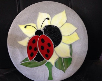 Ladybug sunflower stained glass mosaic garden stepping stone