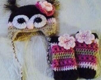 Crocheted owl hat and leg warmer set.