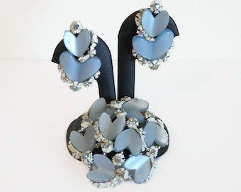 Vintage Signed BSK Blue Heart Thermoset & Rhinestone Brooch/Pin With Matching Clip On Style Earrings, Vintage Signed BSK Jewelry
