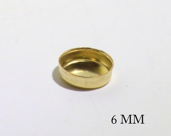 14k Gold Filled Round 6 mm Bezel Cups