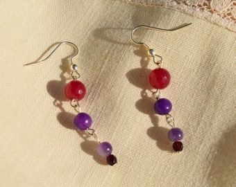 """Amethyst, purple aventurine and red agate dangles.  Approx. 1 1/2""""."""