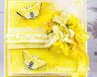 Shabby Chic Mixed Media Happy Birthday Card