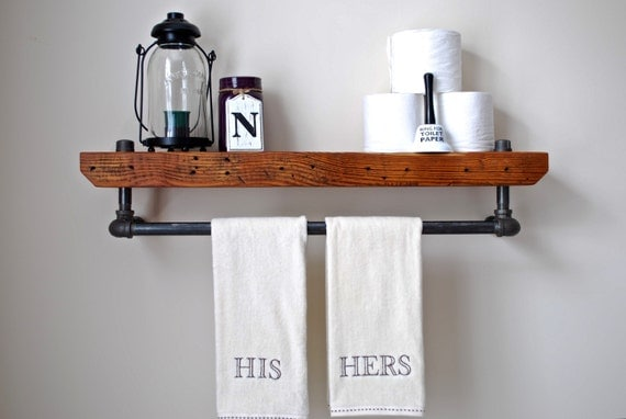 Reclaimed Wood And Metal Wall Shelves: Industrial Bathroom Shelf Floating Pipe Shelf Reclaimed Wood