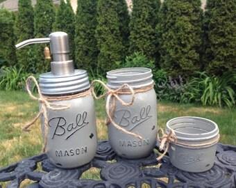 Mason Jar Bathroom Set of 3 - BEST PRICE on ETSY!