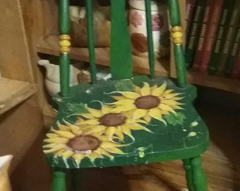 Sunflower Painted 40's Kitchen Chair..Excellent condition