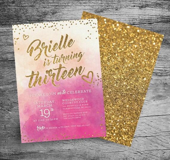 13th Birthday Party Invitation 5x7 By MyInvitationShoppe