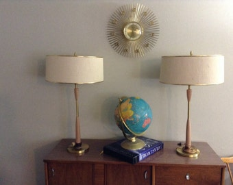 Pair of Mid Century Rembrandt Table Lamps w/Shades