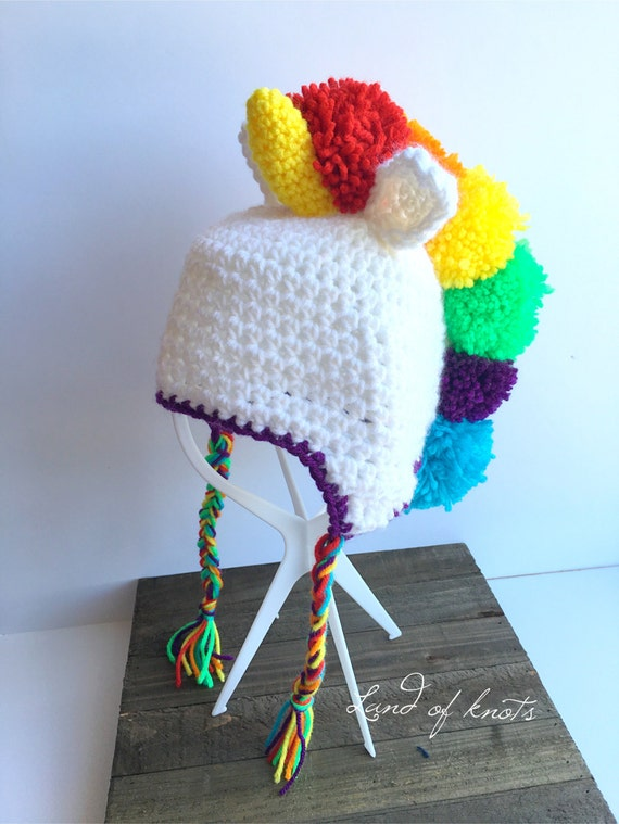crochet unicorn hat rainbow unicorn hat fluffy unicorn hat