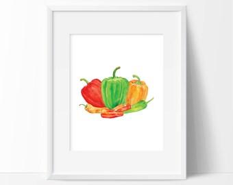 Chili pepper kitchen etsy for Chili pepper kitchen decor ideas