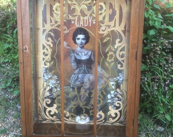 NOW SOLD - Unique upcycled vintage china / display cabinet Tattooed Lady.  Steampunk