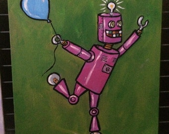 Happy Robot...a fine art painting with a twist