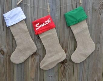 Personalizecd Burlap Stockings -  Monogrammed Christmas Stockings