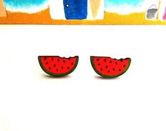 Watermelon Earrings, Watermelon Jewelry, Watermelon, Summer Earrings, Wood Earrings, Miniature Food Jewelry, Fruit Jewelry, Wooden Earrings