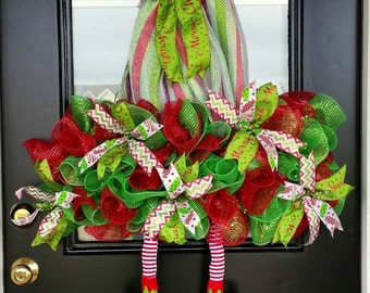Large, Whimsical, Elf Hat Wreath, Santa Hat Wreath, With Legs, Item #41