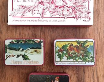 Vintage Lillian Vernon Victorian Memories tins, set of 3 limited edition Christmas tins