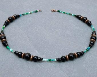 Black necklace. Green necklace. Boho necklace. black agate necklace. short necklace. London necklace. UK necklace. Green and black necklace.