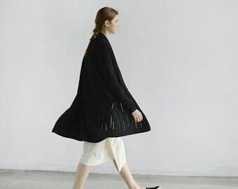 Black Wool loose cardigans coats jackets BonLife