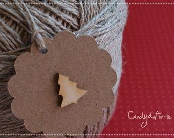 6 Tags Christmas tree, Christmas, gift, gift tags, kraft targheta