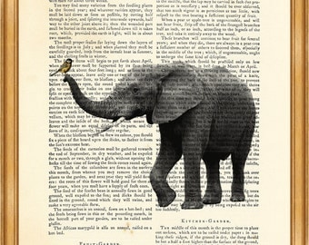 Elephant with Bird, Vintage Wild life Drawing DICTIONARY ART PRINT on Vintage Dictionary Page 8'' x 10'' from up-cycled book