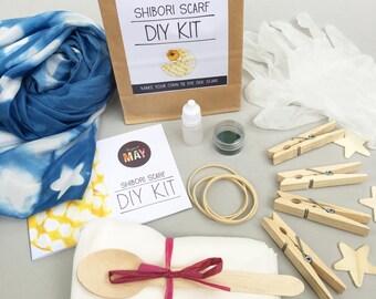 Shibori Dye KIT, scarf dye, shibori kit, tie dye scarf kit, make your own shibori silk scarf, stars, handmade, makes 1 scarf, gift wrapped
