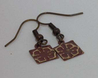 Flower Earrings - Hand Embossed with Patina