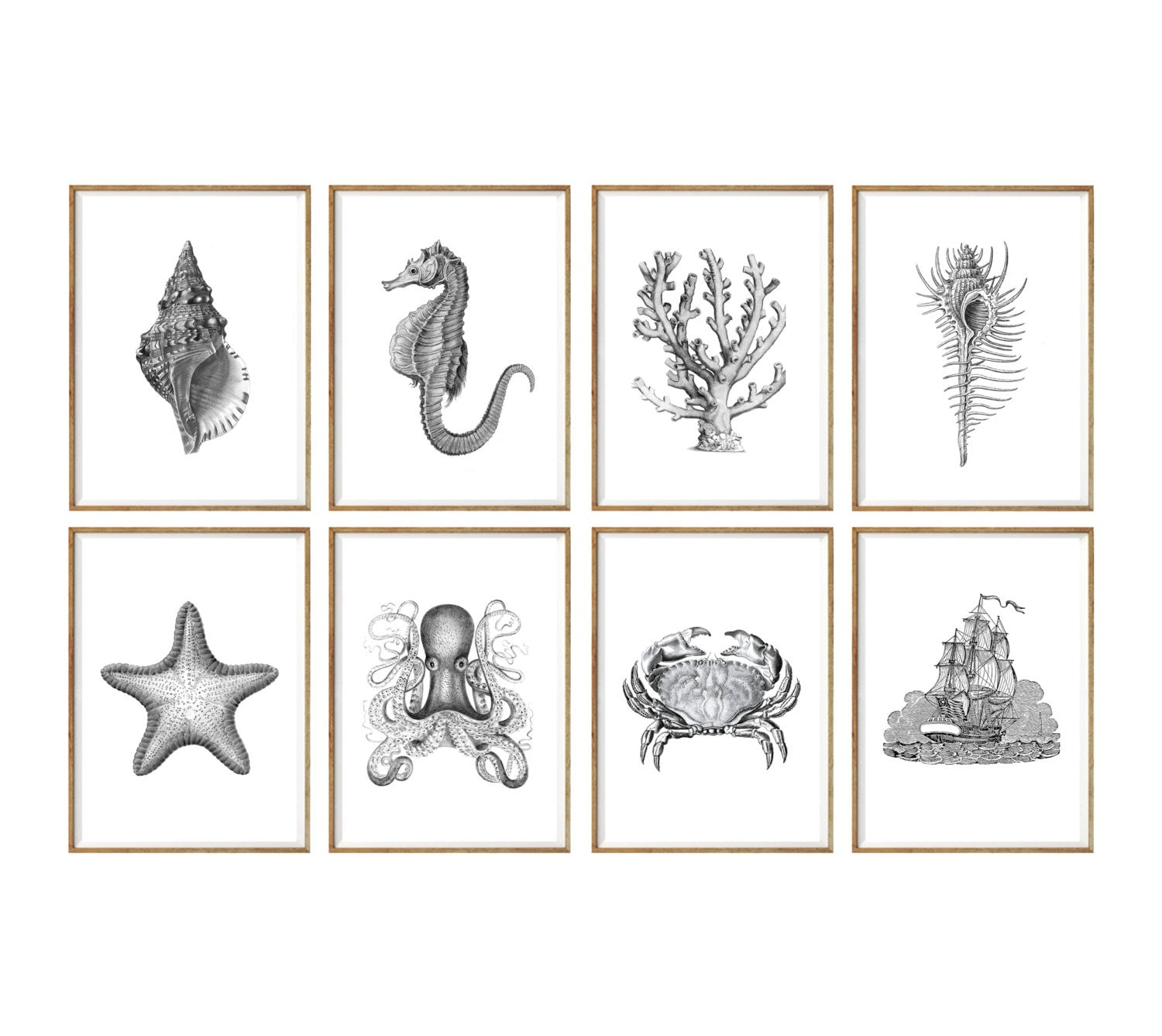 Nautical Art Print SET of 8 nautical wall decor nautical art