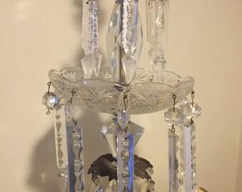 MCM Hollywood Regency Crystal Lamp