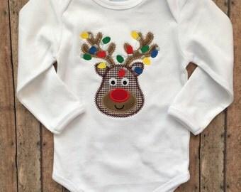 Tangled Lights Zig Zag Stitch Reindeer Head Applique Shirt