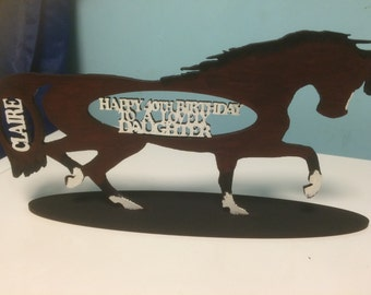 Laser cut personalised mdf wooden horse plinth