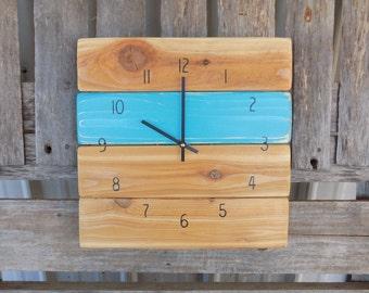 Rustic Pallet Clock, Wall Clock, Primitive Wood Clock, Shabby Chic Clock, Beach House Clock, Turquoise Clock, Pallet Clock, Farmhouse Clock