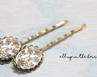 Damask Bobby Pins - Damask Hair Pins -  Damask Hair Clips