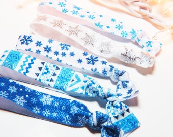 Snowflake Hair Ties - Winter Hair Ties - Hair Elastic - Blue Hair Ties - White Hair Ties - Fair Isle Hair Ties