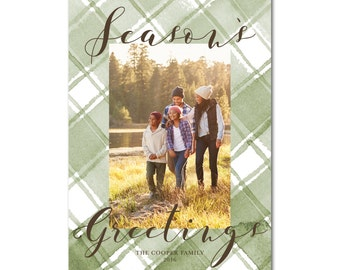 Holiday Card with Photo - 5x7 - Season's Greetings - Watercolor Plaid - Printable and Personalized