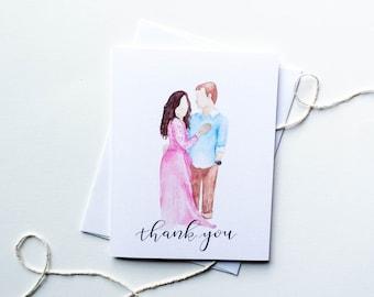 Custom Portrait Wedding Thank You Card