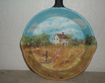 Beautifully Hand Painted Cast Iron Pan Featuring a Wooden Farmhouse in a Pastoral Setting