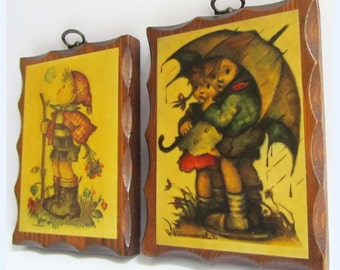 Vintage 60s 70s kitsch cute big eye wooden block pictures signed  could be hummand