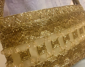 Gorgeous Gold Beaded Evening Bag, Excellent Condition, Black Tie Formal, Wedding, 1990's Beaded Purse, CLEAN!