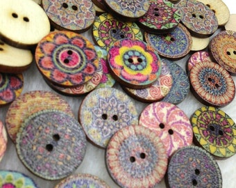100pcs European Style Round Wood Buttons 20mm Sewing Mix WB263