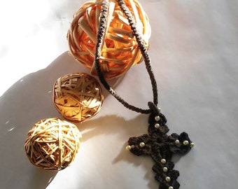Handmade necklace, necklace, crochet necklace, necklace cross and pearls, crochet, brown necklace