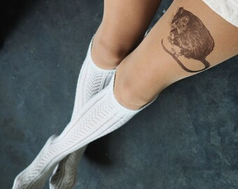 Hand painted mouse tights, nylons, pantyhose