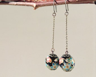 Antique Bronze Chain Long Earrings Oriental Floral Printed Beads - Black