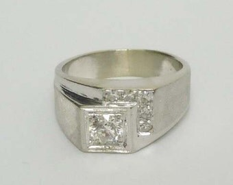 Mens 14kt White Gold 0.85ct Diamond Pinky Ring Satin and Polished Finish