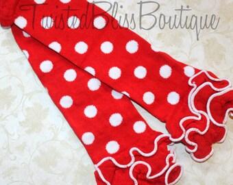 Red & White Polka Dot Ruffled Leg Warmers