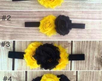 Baby girl headband, shabby chic headband, toddler headband, flower headband, black headband, yellow headband, gift for girls